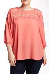 Halo 3 4 Length Sleeve Blouse Plus Size Pink
