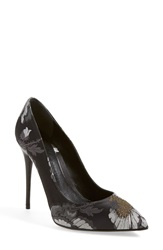 Alexander Mcqueen 'Hibiscus' Pointy Toe Pump Women Black Silver Ivory Fabric