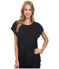 Bobeau Paulie Slub Knit Tee W Shoulder Detail Ink Women's T Shirt Navy