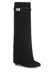 Givenchy Suede Knee High Wedge Boots Black