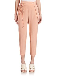 Tibi Cropped Silk Pants Peach