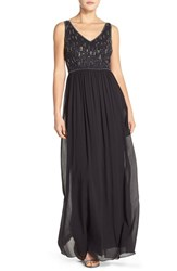 Women's Adrianna Papell Beaded Bodice V Neck Chiffon Gown Black