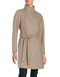 T Tahari Belted Wool Blend Long Peacoat Coco