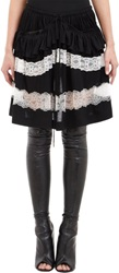 Givenchy Draped Ruffle Lace Tiered Skirt Black Size 38 Fr