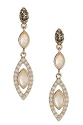 Judith Jack Gold Plated Sterling Silver Swarovski Marcasite Mother Of Pearl And Crystal Marquise Earrings Metallic