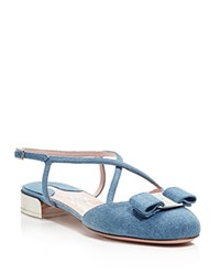 Salvatore Ferragamo Felma Denim Ankle Strap Flats Oxford Blue Silver