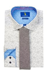 Stockholm Sven White Long Sleeve Modern Fit Shirt And Tie Set