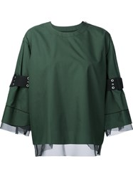 Sacai Belted Sleeve Top Green