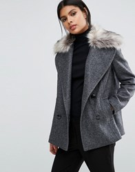 Sisley Double Breasted Coat With Detachable Faux Fur Collar Grey