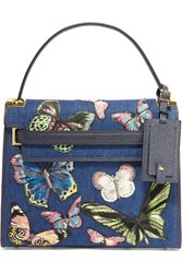Valentino My Rockstud Embroidered Denim And Textured Leather Tote