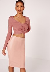Missguided Gather Front Plunge Crop Top Pink Red