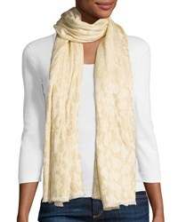 Neiman Marcus Leopard Jacquard Fringe Scarf Champagne