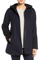 Ellen Tracy Women's Faux Leather Trim Colorblock Swing Duffle Coat
