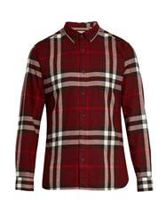 Burberry House Check Cotton Flannel Shirt Burgundy Multi