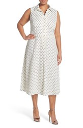 Plus Size Women's London Times 'Clover' Lace Trim Eyelet A Line Dress