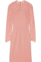 Mikael Aghal Lace Paneled Ponte Dress Antique Rose