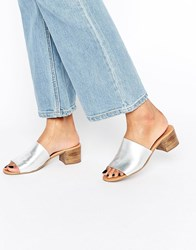 Asos Tale Leather Mules Silver Black