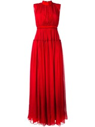 Maison Rabih Kayrouz Pleated Long Dress Red