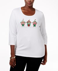 Karen Scott Plus Size Holiday Graphic Top Only At Macy's Bright White