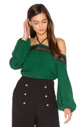 Alice Olivia Esmeralda Off Shoulder Top Green