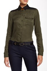 L.A.M.B. Buttoned Quilted Detail Shirt Green
