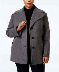 Calvin Klein Plus Size Wool Cashmere Single Breasted Peacoat Only At Macy's Light Gray