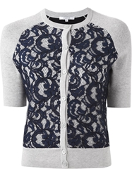 Carven Lace Over Lay Cardigan Grey