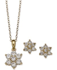 Giani Bernini Cubic Zirconia Flower Pendant Necklace And Stud Earrings Set In 18K Gold Plated Sterling Silver Only At Macy's Yellow Gold