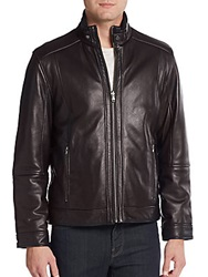Saks Fifth Avenue Leather Reversible Jacket Black