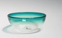 Hand Blown Glass Bowl Ombre Teal Green Minimal Par Avolieglass
