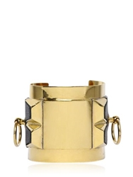 Faith Connexion Metal And Calfskin Cuff Bracelet Black Gold