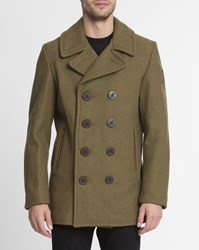 Schott Nyc Khaki Made In Usa Wool Pea Coat