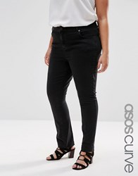 Asos Curve Pencil Straight Leg Jeans In Washed Black Washed Black