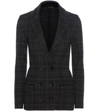 Bottega Veneta Plaid Wool Blend Knitted Jacket Black