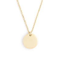 J.Crew 14K Gold Circle Charm Necklace With 18 1 2' Chain