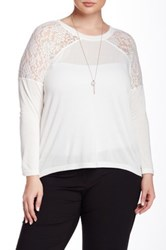 Bb Dakota Aimee Lace Trim Blouse White