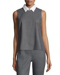 Theory Audressa Cavalry Twill Top With Detachable Collar Grey Melange