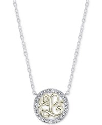 Unwritten Initial 'L' Pendant Necklace With Crystal Pave Circle In Sterling Silver And Gold Flash