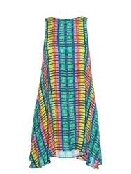 Mara Hoffman Flight Rainbow Print Crepon Sleeveless Dress Blue Multi