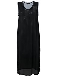 Twin Set Draped Panel Midi Dress Black