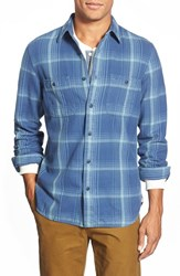Men's Wallin And Bros. Trim Fit Flannel Sport Shirt Blue Coronet Big Plaid