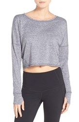 Zella Women's 'Ready Or Not' Crop Pullover Top Grey Wolf