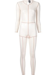 Ann Demeulemeester Exposed Seam Sheer Jumpsuit Nude And Neutrals