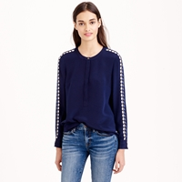 J.Crew Collection Embellished Crepe De Chine Blouse