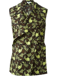 Kenzo 'Monster' Sleeveless Wrap Top Brown