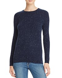 Bloomingdale's C By Crewneck Cashmere Sweater Navy Donegal