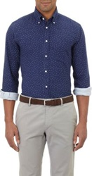 Hartford Anchor Print Shirt Blue