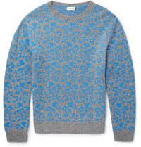 Dries Van Noten Jesper Slim Fit Leopard Intarsia Cashmere And Wool Blend Sweater Blue