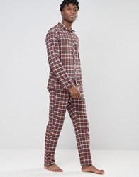 Esprit Pyjamas In Flannel Check In Regular Fit Red