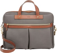 Mismo Coated Canvas Office Briefcase Grey